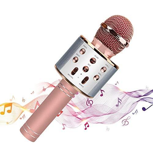 Wireless bluetooth Mikrofon-Karaoke, tragbarer Lautsprecher,Geschenkkinder,Geburtstagsgeschenk,kompatibel mit iOS und Android-Smartphone,PC,Laptop,hervorragende Audioqualität für Aufnahme Wireless Pc Laptop