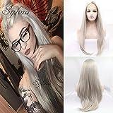 xiweiya Platinblond synthetischen Lace Front Perücken natürlich glatt lang Haar für Frauen Hitzebeständig Haar Ersatz Perücken
