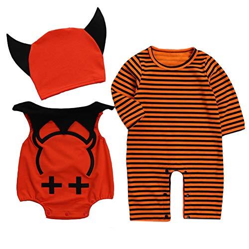 Allaibb toddler baby costume di halloween 3pcs diavolo vestiti set cartoon wing pattern horn hat size 90 (stripe)