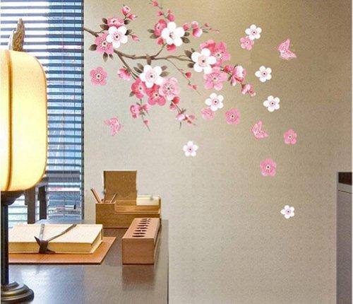 Amovible Stickers Muraux Mur Autocollant Fleurs Papillon Decal Art Diy Maison Decoration de la...
