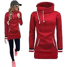 Sudadera Mujer, Manadlian Vestido casual de la camisa del invierno de las mujeres manga larga Sudadera con capucha (L, Rojo)