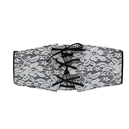 Fashiongen - Cinturón Corsé de Encaje AUGUSTINE - Negro (Blanco), M-L