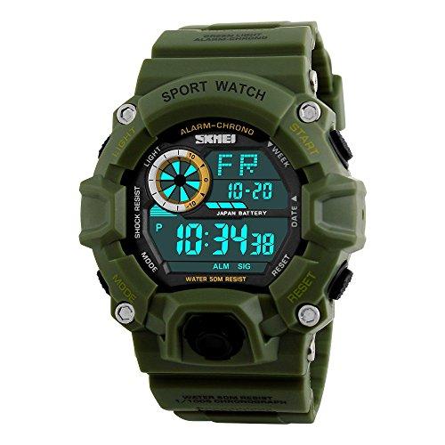 TONSHEN Uomo Sport Militare Tattica Orologio 50M Impermeabile Multifunzionale Elettronica LED Digitale Semplice Plastica Gomma Orologi da Polso (Verde)