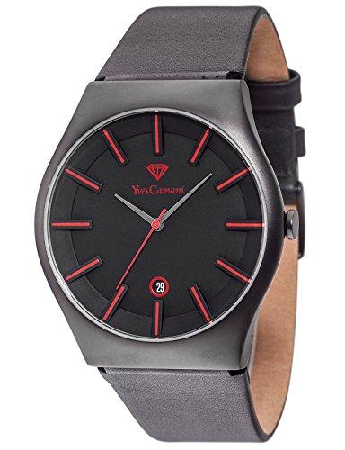 Yves Camani Loann - Reloj de cuarzo para hombres, con correa de cuero de color negro, esfera negra