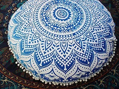 Heyrumbh Handicrafts Tapestry Ombre Mandala Round Psychedelic Bohemian - Boho Hippie Large Gypsy Cotton Soft Cozy Floor Pouf Pillows Cover Without Filler (Sea Blue, 32 Inches) Royal Blue Round Table Cover