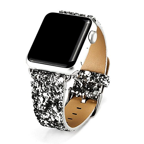 Nike-monitor-armband (Für Apple Watch Armband 42mm, Apple Watch Series 3 /2/1 Uhrenarmband Glitzer Leder Bands Shiny Ersatzband Silber)