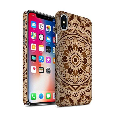 STUFF4 Matte Snap-On Hülle / Case für Apple iPhone X/10 / Blumen/Blau Muster / Mandala Kunst Kollektion Traum/Sepia