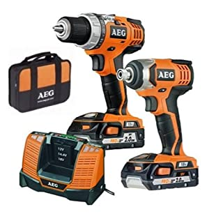 AEG POWERTOOLS 18 V LITHIUM-ION DRILL AND IMPACT COMBO KIT + 2 X 2.0 AH BATTERIES. JP18A2 LI-202B