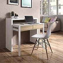 Habitdesign - Mesa escritorio extensible, mesa estudio consola, color Blanco y Roble Canadian, medidas: 98,5x87,5x36- 70 cm de fondo