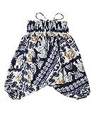 Lofbaz Kinder Mädchen Kinderhose Hose Haremshose und Overall Aladinhose Baby Sommer Jumpsuit - Elephant 21 Dunkelblau - 8-9Y