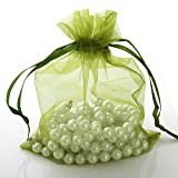 11x16cm 50 pcs dark Green Brand New Luxury Organza Wedding Favor Gift Bags Jewellery Pouch Pouches (Army Green)