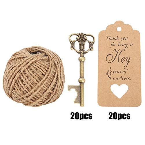 ntage Style Keys Flaschenöffner Mit Escort Tags Karte Schnur Hause Hochzeit Party Decor ()