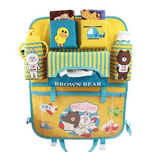 Teepao - Organizador infantil para el respaldo de asiento de coche, ideal para guardar accesorios de bebés y juguetes de niños pequeños durante el viaje, protege el asiento trasero