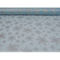 """Disneys Frozen Blue Silver Glitter Snowflake Voile 59"""" - 150cm Sold by the Metre"""