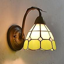 Tiffany rejilla cristal baño lámpara de pared espejo frente mediterráneo estilo candelabro de pared Metal Corlor vaso lleno pasillo corredor balcón pared accesorios de iluminación