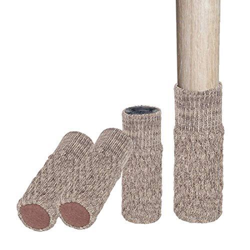 12 Pcs Stuhlbeinsocke Stuhlsocken Möbel Socken Boden Schutz Tabelle Stuhl Bein Anti Rutsch Socke Stuhlkappen (Khaki) (Boden-tabelle)