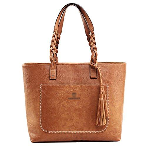 Yiiquan Damen Retro mit Fransen Dekoratives Design Schultertasche Handtasche Hochwertige Umhängetasche Gelb Braun
