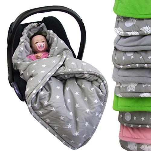 BAMBINIWELT Einschlagdecke, Decke für Babyschale, 3 und 5 Punkt-Gurt-System (grau-grau Sterne)