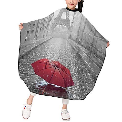Haarschnitt-Schutzblech-Haar-Hausmantel-Umhang, Red Umbrella In Rain Eiffel Tower Kid Haircut Hairdressing Cape Cloth Apron Hair Styling Cape Apron (Tower Eiffel Schneiden)