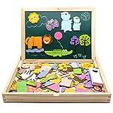 jerryvon 123 Pièces Puzzle en Bois Magnétique Double Face Tableau Aimanté Puzzle Enfant 3 ans Planche à Dessin Jouets Educatif pour Bambin Enfants Fille 3 Ans 4 Ans 5 Ans