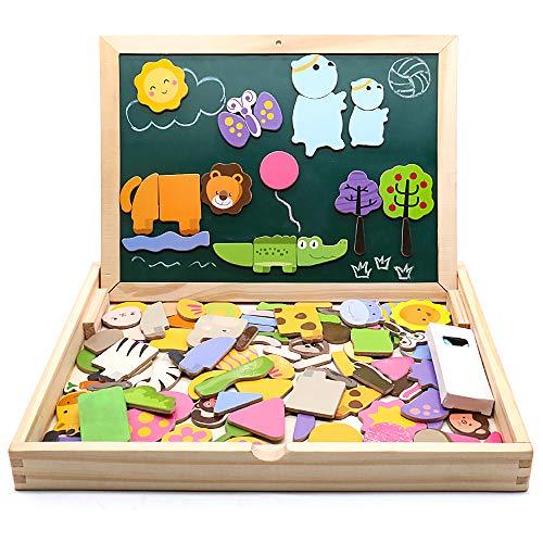 jarryvon Puzzle Magnetico Niños 123 Piezas de Madera Pizarra Magnética Infantil con Rompecabezas Caja Juguete Educativo Puzzle de Animales Regalos Juguetes Niños 3 Años