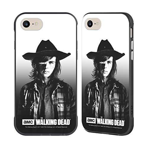 Officiel AMC The Walking Dead Carl Portraits Filtrés Noir Étui Coque Fender pour Apple iPhone 7 / iPhone 8, Coques iphone