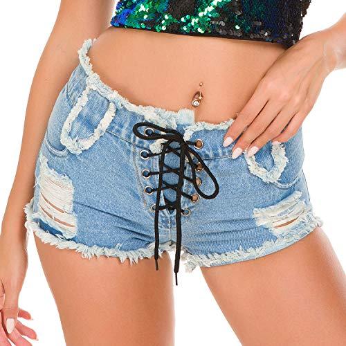 FJJBHSD Hosen Denim Shorts Hot Pants Jeans Nachtclub Frauen sexy hohe Taille Loch Shorts hellblau L