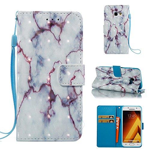 Marmor Stein Grain Texure Pattern PU Ledertasche Cover, Retro Bookstyle Flip Stand Case mit Magnetverschluss & Card Slots & Lanyard für Samsung Galaxy A320 (A3 2017) ( Color : C ) B