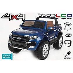 RIRICAR Ford Ranger Wildtrak 4X4 LCD Luxury, Véhicule électrique, Écran LCD, Peint Bleu - 2.4Ghz, 2 x 12V, 4 X Motor, télécommande, Deux Places en Cuir, Roues Soft EVA, Bluetooth