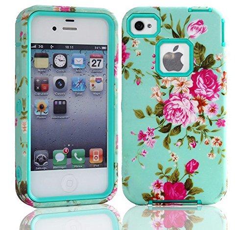 meaci (TM) Téléphone portable Coque pour Apple iPhone 4/4S Motif fleur rose Durable de luxe 3en 1pc & Combo hybride en caoutchouc souple avec motif floral fleurs (IX)