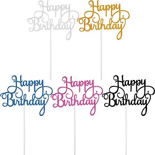 Yaomiao 25 Stücke Geburtstag Kuchen Topper Happy Birthday Cupcake Pick für Party Dekoration - Geburtstag Cupcake