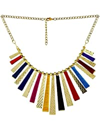 Bandish Multicolour Golden Strips Junk Necklace