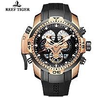 Reef Tiger mens complicato orologio gomma nera oro rosa orologio RGA3503