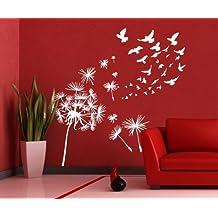 00331 Adesivo murale Wall Art - Soffioni e uccelli - Misure 149x150 cm - bianco - Decorazione parete, adesivi per muro, carta da parati