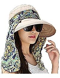 Leisial Été Femme Casquette à Visière Anti-soleil Respirant Anti UV Pliable Détachable Zippé Multifonction Chapeau