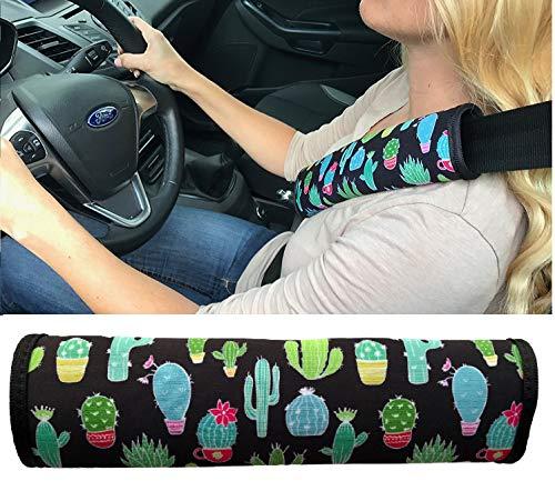 1x Auto correa Protección de cinturón de seguridad hombro hombro Cojín asientos de coche Cinturón acolchado para niños y adultos (Cactus diseño)-de heckbo