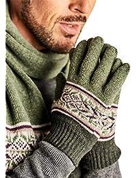 55e8c7752ff5cc Wool Overs Handschuhe aus Reiner Lammwolle mit Norwegermuster für Herren  Green, 1size