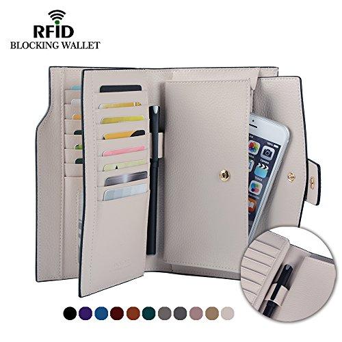 Weiße Clutch Wallet (Befen Frauen RFID Blocking Vollkorn Leder Clutch Wallet Multi Card Organizer Kartenhalter Armband mit Reißverschluss Taschen und Handgelenk Armband für iPhone 7 / 6s / 6 Plus - Creme weiß)