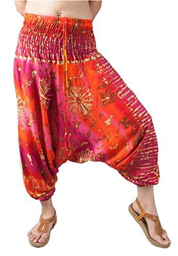 Lofbaz Mujeres Smocked Cintura Teñido 2 en 1 Mono Harén Pantalones Rosa & Naranja 2XL