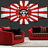 WEPAINTING Modern Home Decor Quadro Immagini HD Stampato 5 Pezzi Bandiera Giapponese e Anime One Piece Logo Tela Pittura Poster Wall Art, 40X60 40X80 40X100cm,