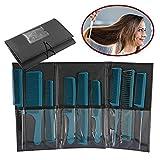 Peigne à coiffer professionnel, 9pcs kits de coiffure de salon, teaser de queue de pintail en métal/queue pointue/dent large/coupe peigne(Bleu)
