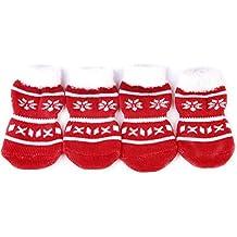 LEORX Mascotas calcetines 4pcs Navidad perro cachorro gato antideslizantes calcetines con estampados de pata - talla XL