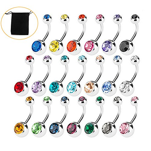 Amaza 20pcs Belly Bar Button Rin...