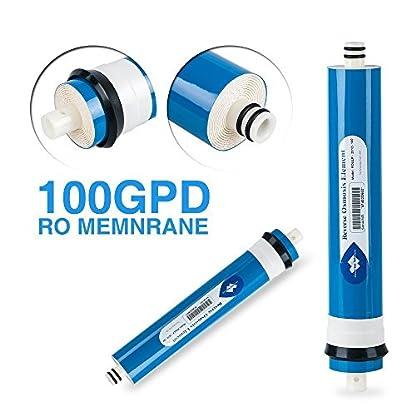 Membrane Solutions 100 GPD RO- Purificador de agua con carcasa y 3 accesorios para codo 1 llave
