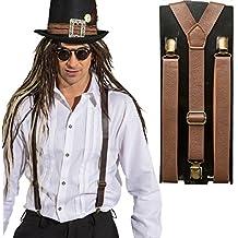 Steampunk Hosenträger Hosenhalter Lederoptik braun Gothic Braces Bundhalter Retro Futurismus Suspenders Retrolook Viktorianisches Kostümzubehör