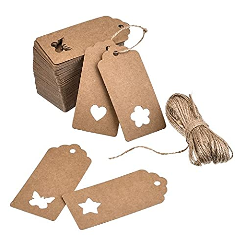 Outus Kraft Paper Gift Tags Wedding Tags Gift Tags Bonbonniere Favor with 66 Feet Natural Twine, 4 Style Hollow Patterns (Heart, Star, Flower and