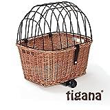 Tigana - Hundefahrradkorb für Gepäckträger aus Weide Natur 44 x
