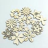 Sharplace 50 Stück Holzherzen Holz Verzierung für Hochheitsdeko Tischdeko Streudeko DIY Handwerk - Blume Formen - 4