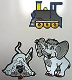 reflektierende Aufbügel Flicken Bügelbilder - 3 Stück - verschiedene Motive (Elefant, Hund, Eisenbahn)