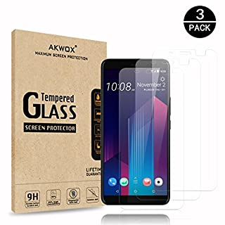 AKWOX [3 Pack] Tempered Glass Screen Protector for HTC U11 Plus, [Anti-Bubble] [Scratch-resistant] Premium Screen Protective Film for HTC U11 Plus Black